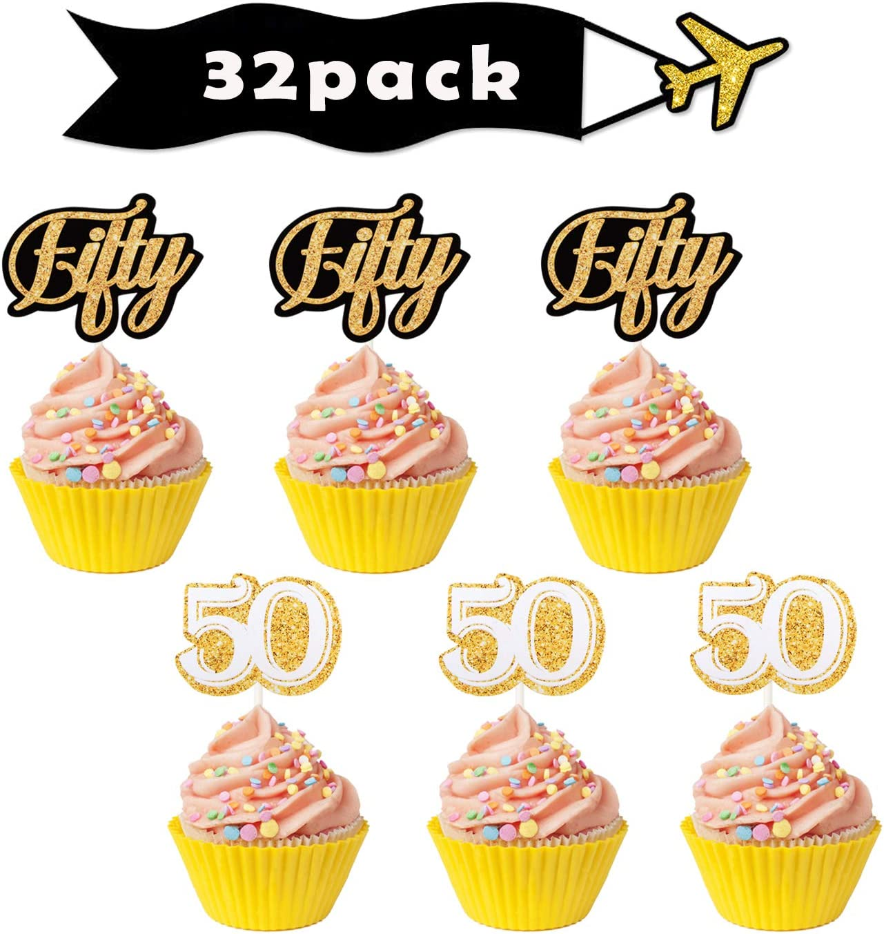 Gold 50th Fifty Cupcake Toppers - 50th Birthday Anniversary Party Dessert Decorations Supplies - Set of 32