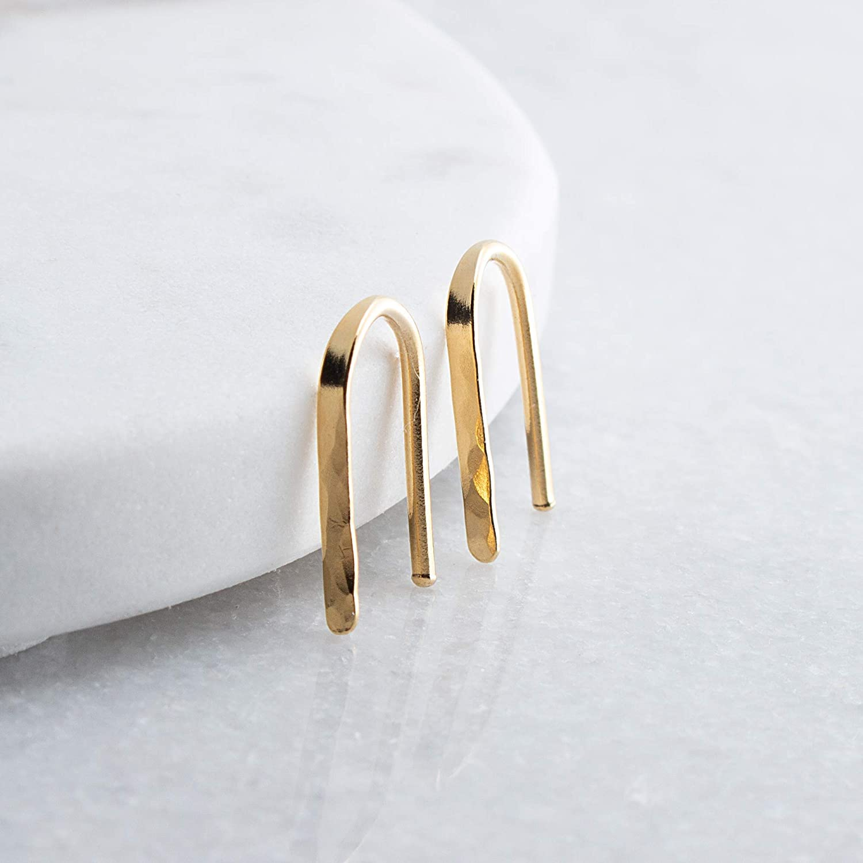 14K Gold Filled Arc Ear Hook Flattened Hammered Earrings 71siHY2fz-L