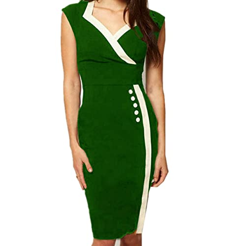 WIIPU Womens Casual Button Career business Bodycon Pencil Dress(J269)