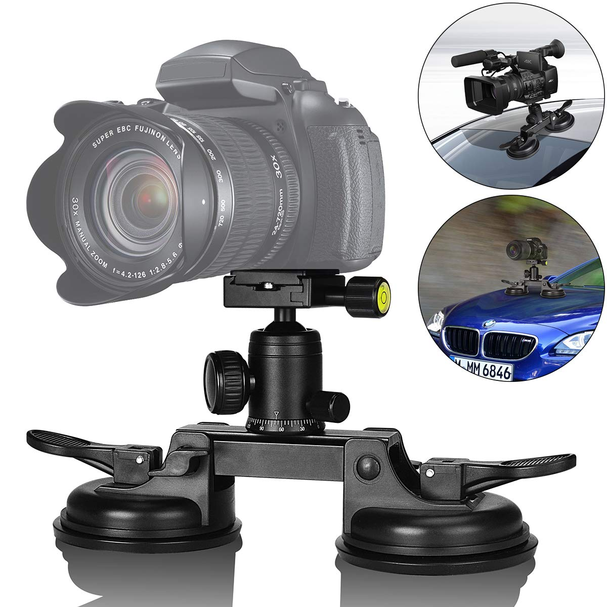 Heavy Duty DSLR/Mirorrless Camera Suction Cup Car Mount Professional Camcorder Vehicle Holder w/Quick Release 360°Panorama Ball Head Compatible with Nikon Canon Sony for Hi-Speed Motion Photography by fantaseal