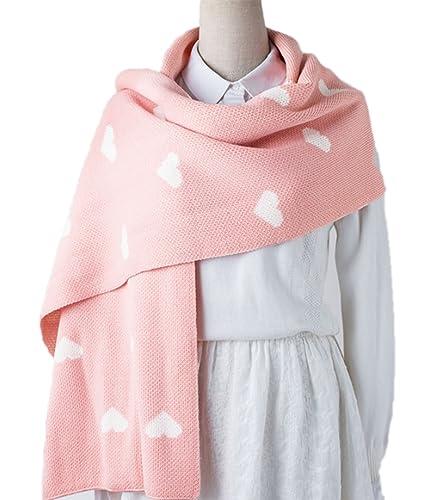POKWAI Bufandas De Las Mujeres Chales Bufanda De Moda Caliente Súper Suave Color Sólido,Pink-OneSize