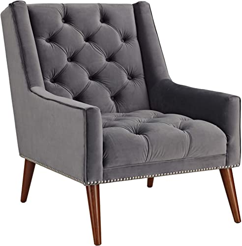 Modway EEI-2306-GRY Peruse Upholstered Fabric Modern Tufted Accent Arm Chair