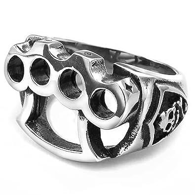 store grande sconto comprare nuovo Mendino, anello da uomo, in acciaio INOX, colore argento nero, tema  tirapugni, stile gotico