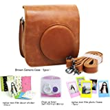 CAIUL Compatible Mini 25 Camera Case Bundle with Selfie Lens, Frames & Film Stickers for Fujifilm Instax Mini 25 26 (Brown, 4 Items)