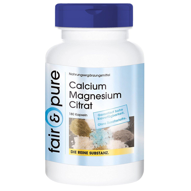 180 cápsulas vegetarianas con citrato de calcio y magnesio - Sustancia pura y sin aditivos: Amazon.es: Salud y cuidado personal