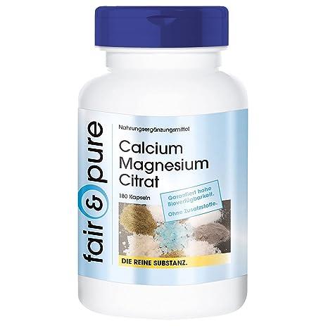 180 cápsulas vegetarianas con citrato de calcio y magnesio - Sustancia pura y sin aditivos