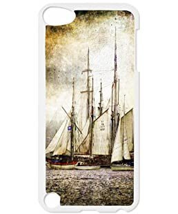 Vintage Style Ships Lea Elliot TM Hard White Plastic Case for the Apple iPod Touch 6 - iTouch 6