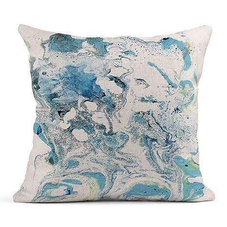 Kinhevao Cojín Colorido Artístico Azul Claro Fluido Gris y ...
