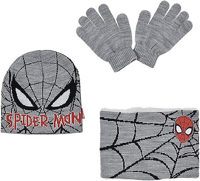 Cappello Scaldacollo Guanti Spiderman Invernale Bambino Set Inverno Cappello PON PON Uomo Ragno Lana