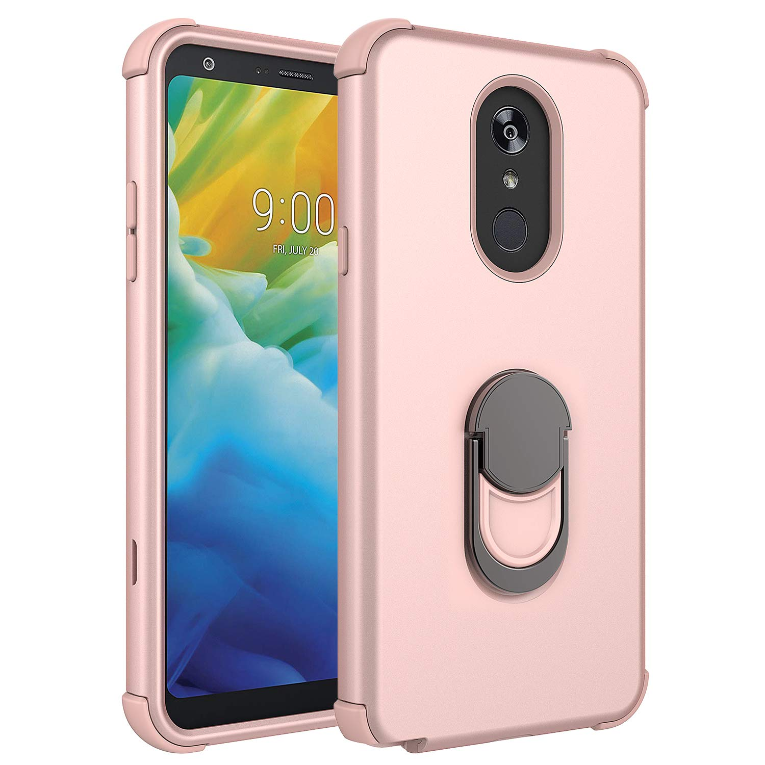 LG Stylo 5 Case, Rosebono 3-Layer Slim Shockproof Hard Cover with Metal Ring Stand Skin Fashion Cute Cover Armor Case for LG Stylo 5 (Rose Gold)