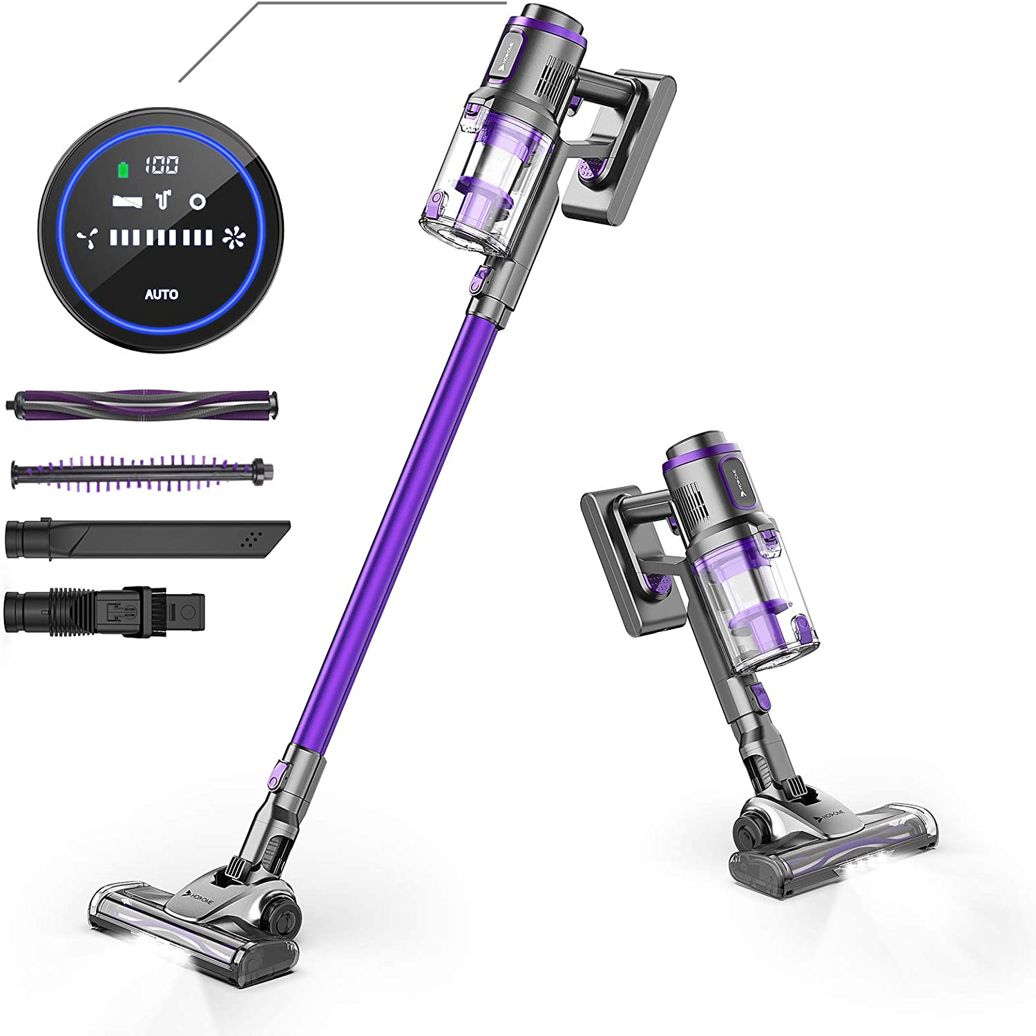 Hosome Cordless Vacuum Cleaner 22Kpa LED Screen Touch Controls 4 in 1 Handheld Cordless Stick Vacuum with Storage Base,Lightweight,43 Mins Runtime Rechargeable Battery for Home Floor Carpet Pet Hair