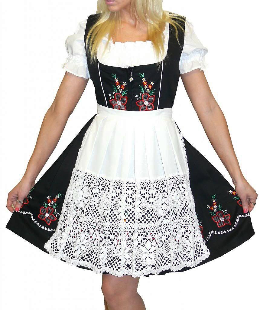 Dirndl Trachten Haus 3-Piece Short German Wear Party Oktoberfest Dress 8 38 Black