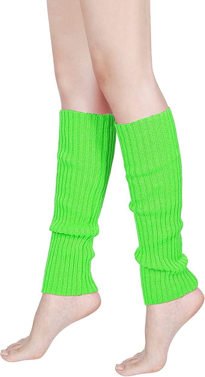 Ladies Girls Long Legwarmers Neon Fancy Dress Warm Winter Soft Leg Warmers New