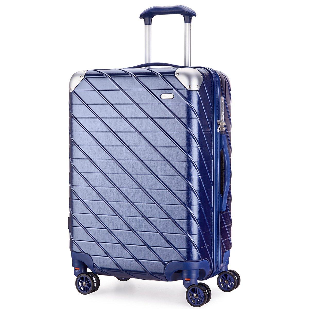 MEISINI スーツケース 旅行バッグ キャリーバッグ キャリーケース TSAロック 機内持込 軽量 ABS+PC 静音 ファスナーレス 8輪キャスター 出張【一年保証】 B07DJ26LCV Mサイズ( 4~7泊用·62L)|ブルー ブルー Mサイズ( 4~7泊用·62L)