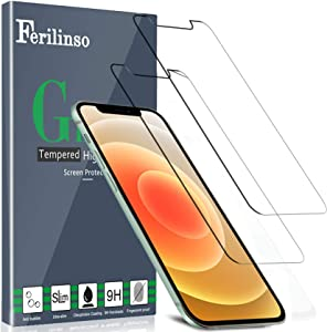 Ferilinso [2 Pack] Screen Protector for iPhone 12 [Tempered-Glass] [Military Protective] [HD Clear] [Case Friendly] [Anti-Fingerprint] [Anti-Scratch] [Bubble Free] [Easy Installation]