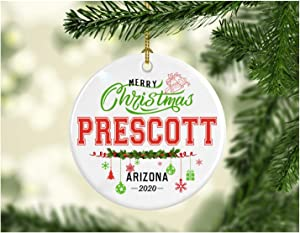 Christmas Decorations Tree Ornament - Gifts Hometown State - Merry Christmas Prescott Arizona 2020 - Gift for Family Rustic 1St Xmas Tree in Our New Home 3 Inches White