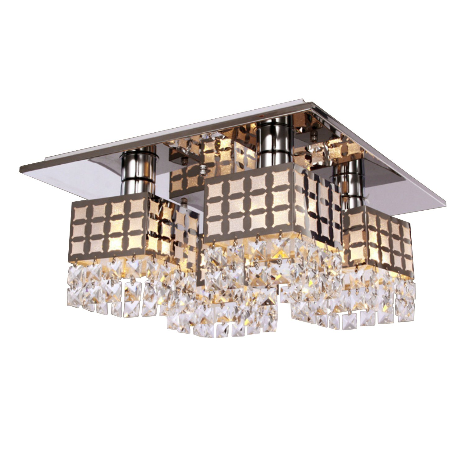 Lightess Crystal Flush Mount Ceiling Light Fixture Square Modern Chandelier Lighting Stainless Steel with 4 Lights