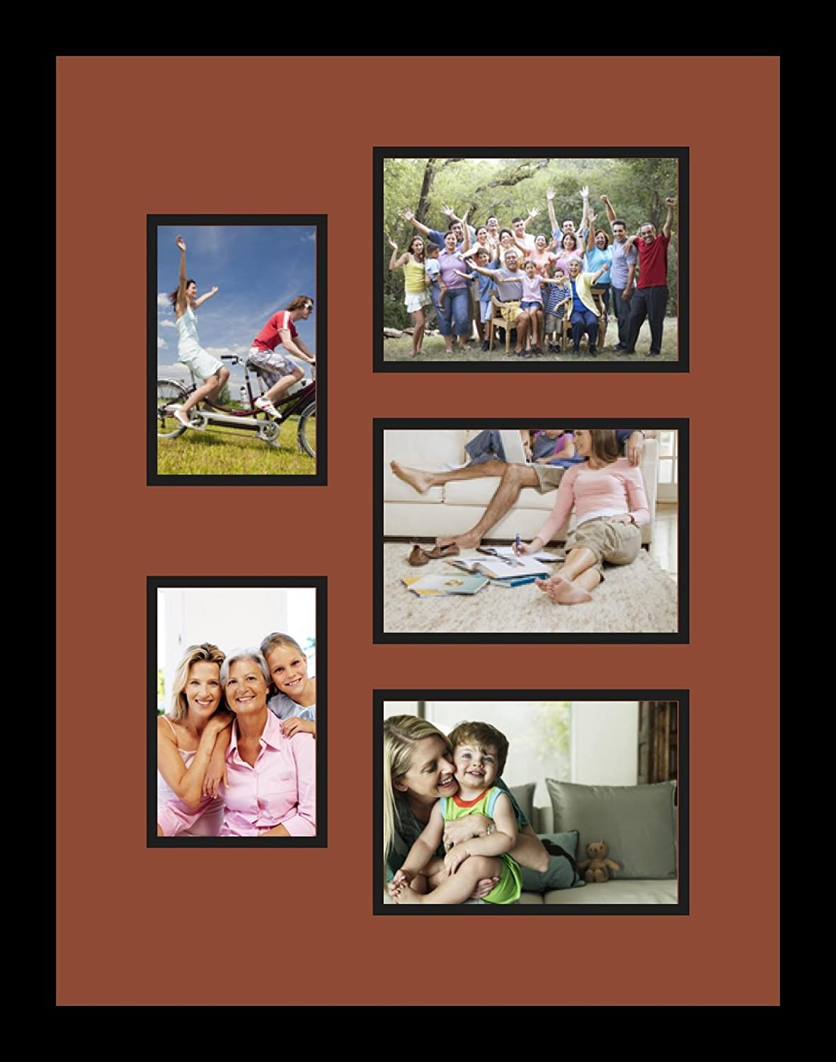 Art to Frames Double-Multimat-1375-766//89-FRBW26079 Collage Photo Frame Double Mat with 2-4x6 and 3-5x7 Openings and Satin Black Frame