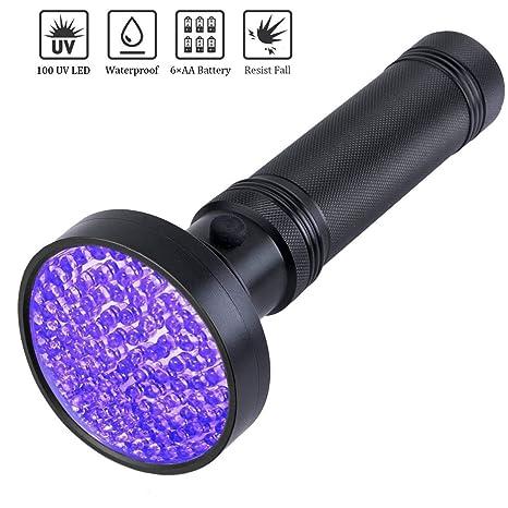Linterna de luz negra, 100 LED UV, linterna ultravioleta resistente de grado profesional con