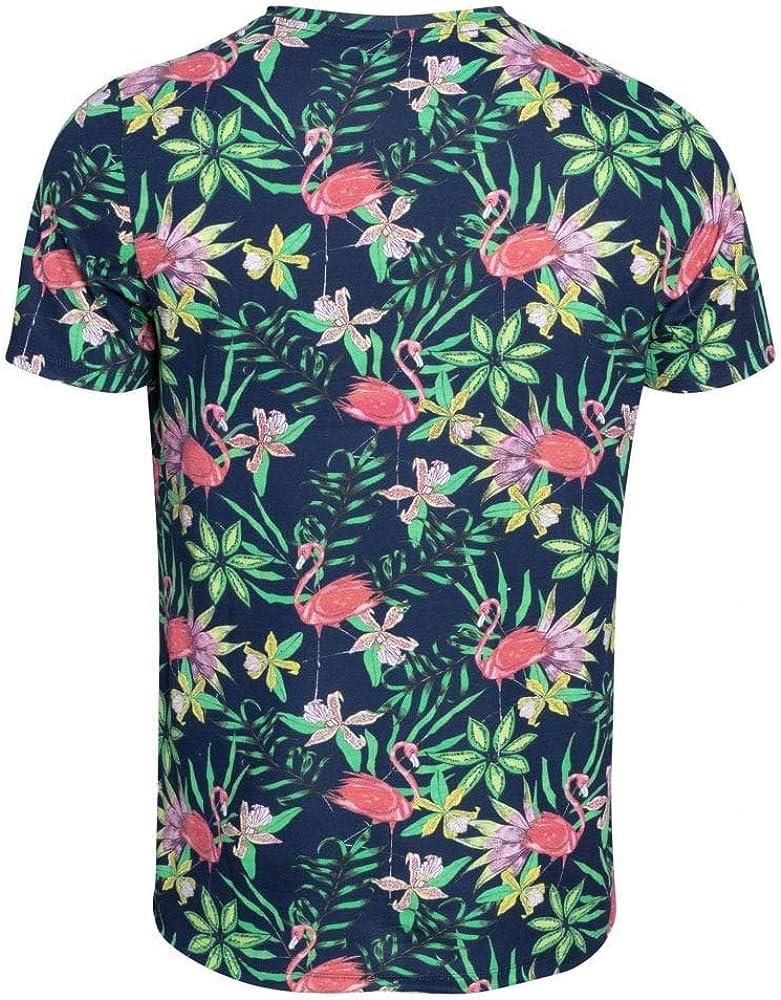 Bjorn Borg Algodón Orgánico Relajado-Camiseta De Los Hombres con Estampado Floral Flamencos, Verde/Multi Pequeño: Amazon.es: Ropa y accesorios