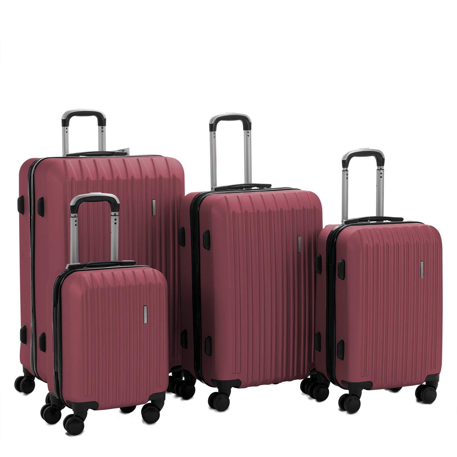 Murtisol 4 Pieces ABS Luggage Sets Hardside Spinner Lightweight Durable Spinner Suitcase 16'' 20'' 24'' 28'', 4PCS Wine Red