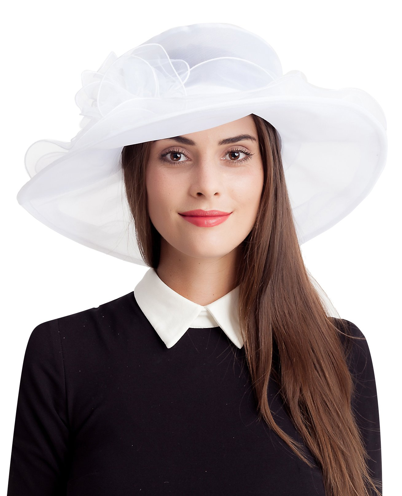 Seven Flowers White Easter Church Kentucky Derby Hat Women Bridal Fascinator Wedding Tea Party Hats by (10-White)