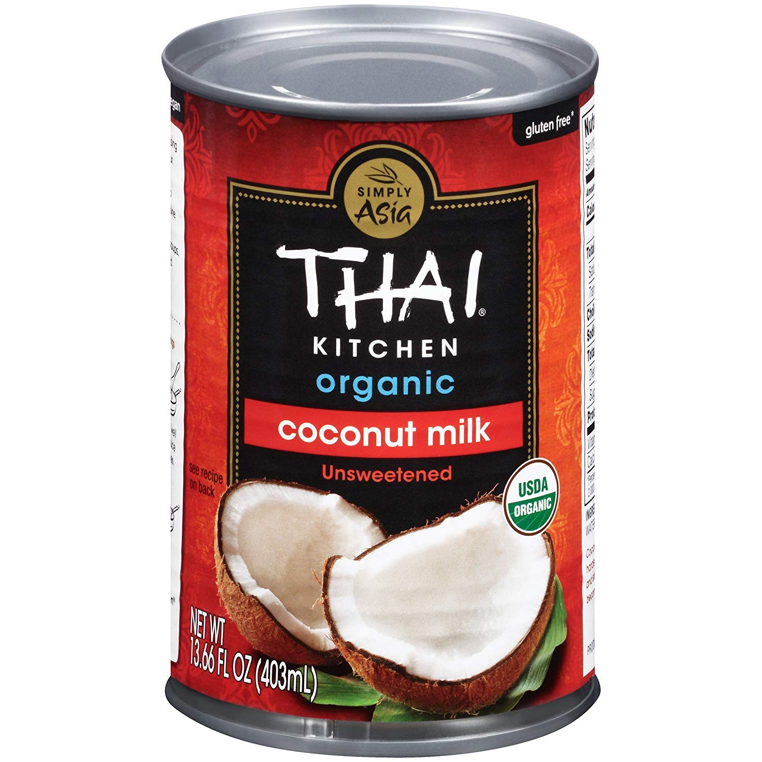 Thai Kitchen Organic Unsweetened Coconut Milk, 13.66 fl oz, (Pack of 12)