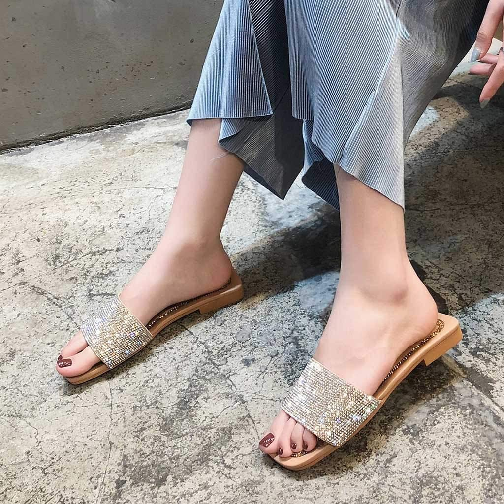 Summer Ladies Comfortable Sandals,Womens Fashion Casual Square Toe Crystal Outdoor Flat Slippers Ladies Shoes