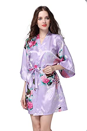 Sitila Trajes de seda floral para damas de honor pijamas de satén púrpura Kimono ropa de dormir S: Amazon.es: Ropa y accesorios
