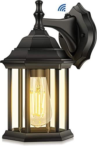 Dusk to Dawn Sensor Outdoor Wall Lantern, Exterior Wall Light Fixture with E26 Base Socket, Wall Mount Sconce Waterproof Anti-Rust Matte Black Wall Lamp with Clear Glass for Garage Doorway Porch