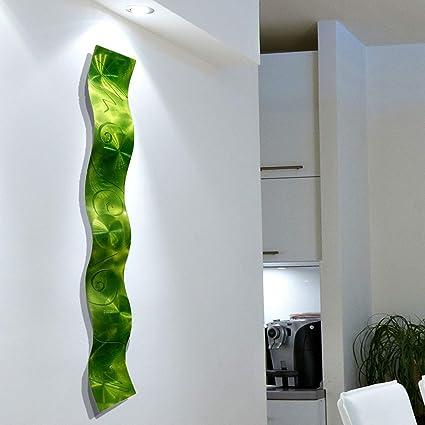 Amazon.com: Lime Green 3D Abstract Metal Wall Art Sculpture Wave ...