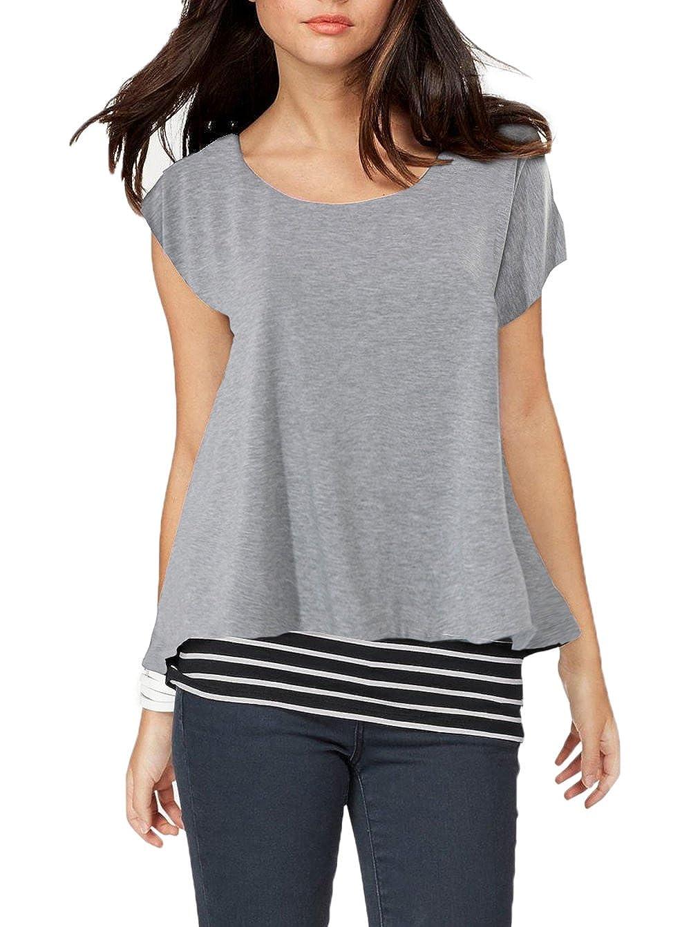 Grey Jusfitsu Women's Loose Layered Short Sleeve Striped T Shirt Tops Casual Blouses