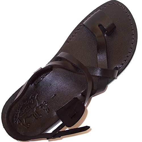 29b39e04915c2 Holy Land Market Unisex Genuine Leather Biblical Sandals (Jesus - Yashua) Black  Style I
