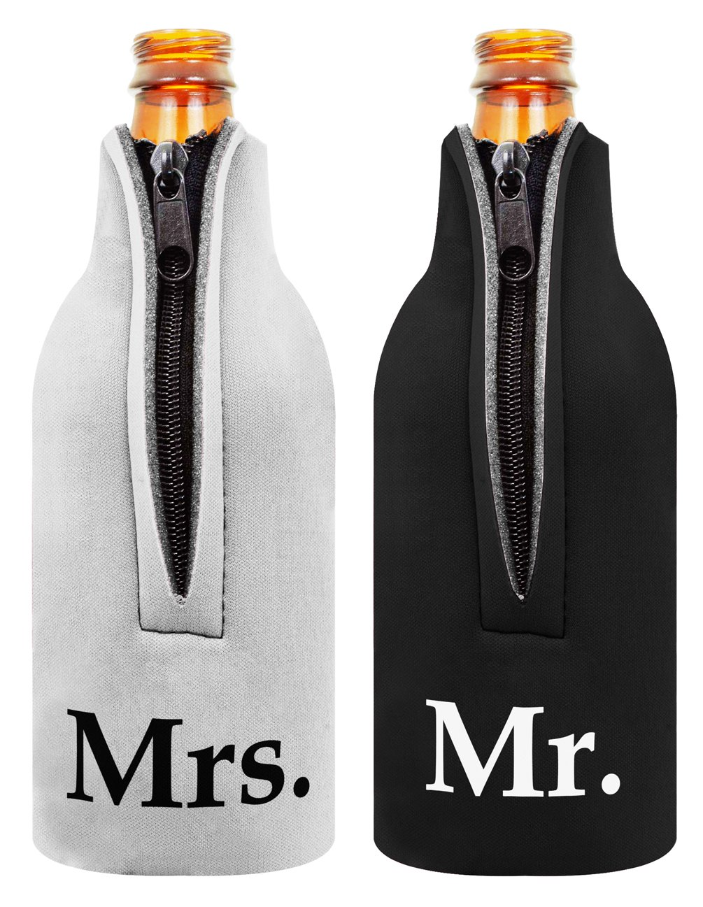 Amazon.com: Bridal Shower Gift Bottle Coolie Mr. and Mrs. 2 Pack ...