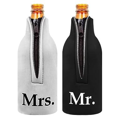 Bridal Shower Gift Bottle Coolie Mr. and Mrs. 2 Pack Bottle Drink Coolers Coolies BlackWhite