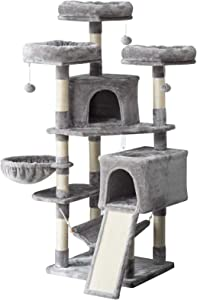 """IBUYKE 63"""" Cat Tree Tower for Large Cats Play Furniture Cat Condo with Sisal Scratching Posts&Board, Cat Hammock Basket, Dangling Balls, Smoke Gray, Light Gray, Beige UCT021"""