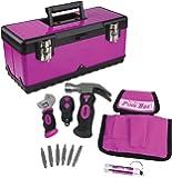 "The Original Pink Box PB1STBOX 20"" Metal Tool Box with Stubby Tool Set"