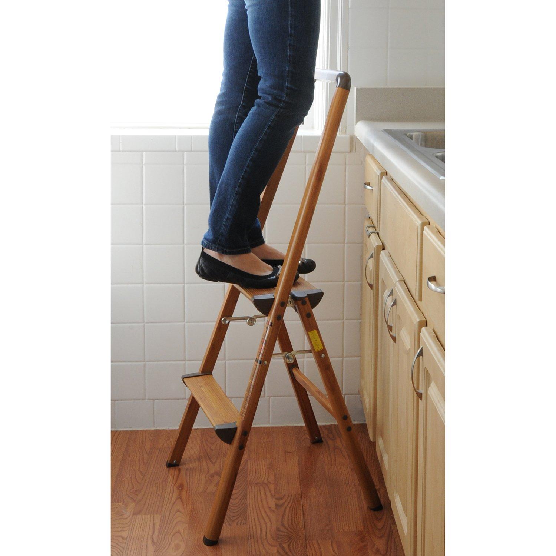 AmeriHome 700367 Lightweight Aluminum Step Ladder, 2 Step, Faux Wood Finish by AmeriHome (Image #2)