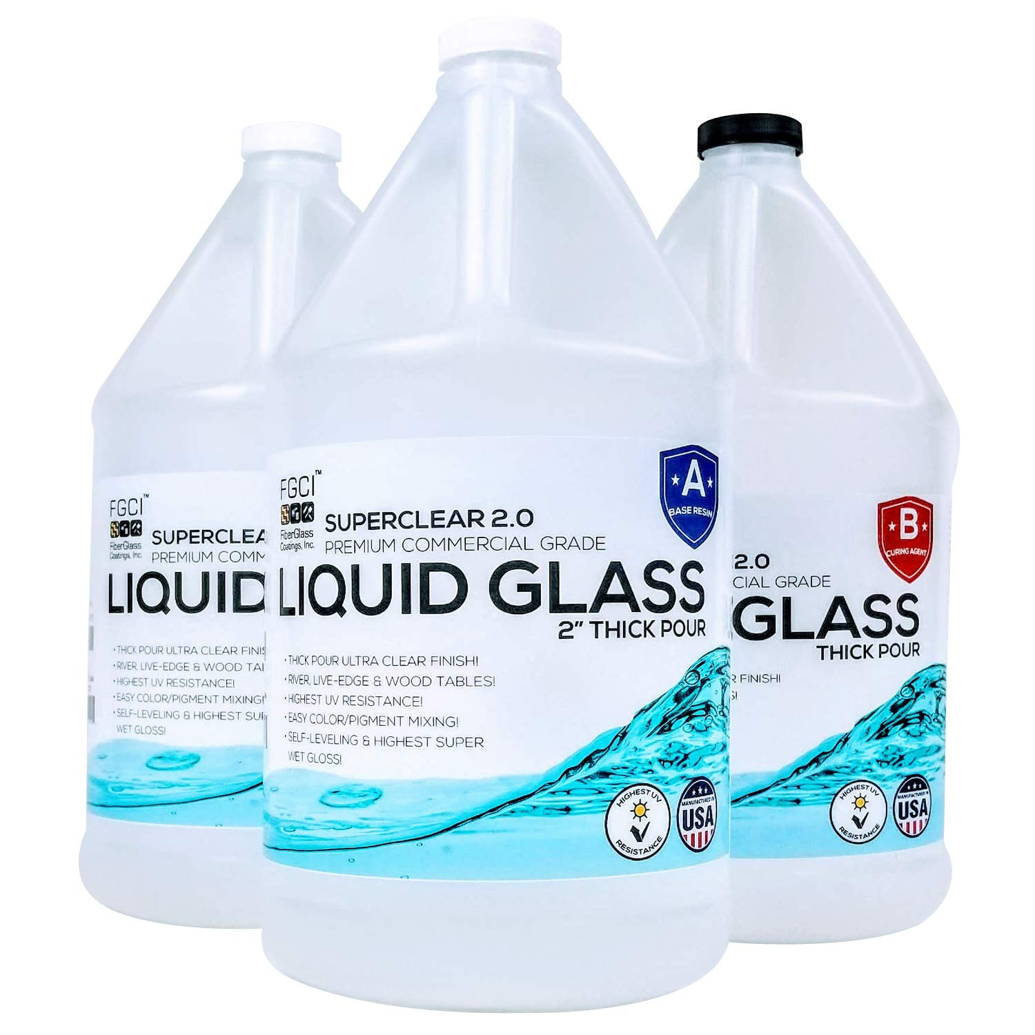 """Liquid Glass 2"""" Thick Pour 2:1 [3 GL Kit], Epoxy Resin Crystal Clear 2.0 Self Leveling 2 Part Epoxy Resin Live Edge Epoxy Table, Resin Wood and DIY Epoxy River Table, 2GL Base Resin & 1GL Hardener"""
