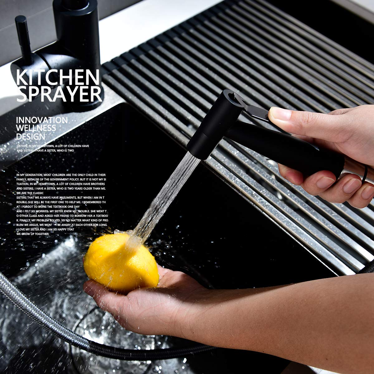 WS030F CIENCIA Grifo Fregadero Acero Inoxidable Grifo Cocina Extraible Ducha de Lavabo 360/° Giratorio Grifo de Cocina Extraible para Fregadero