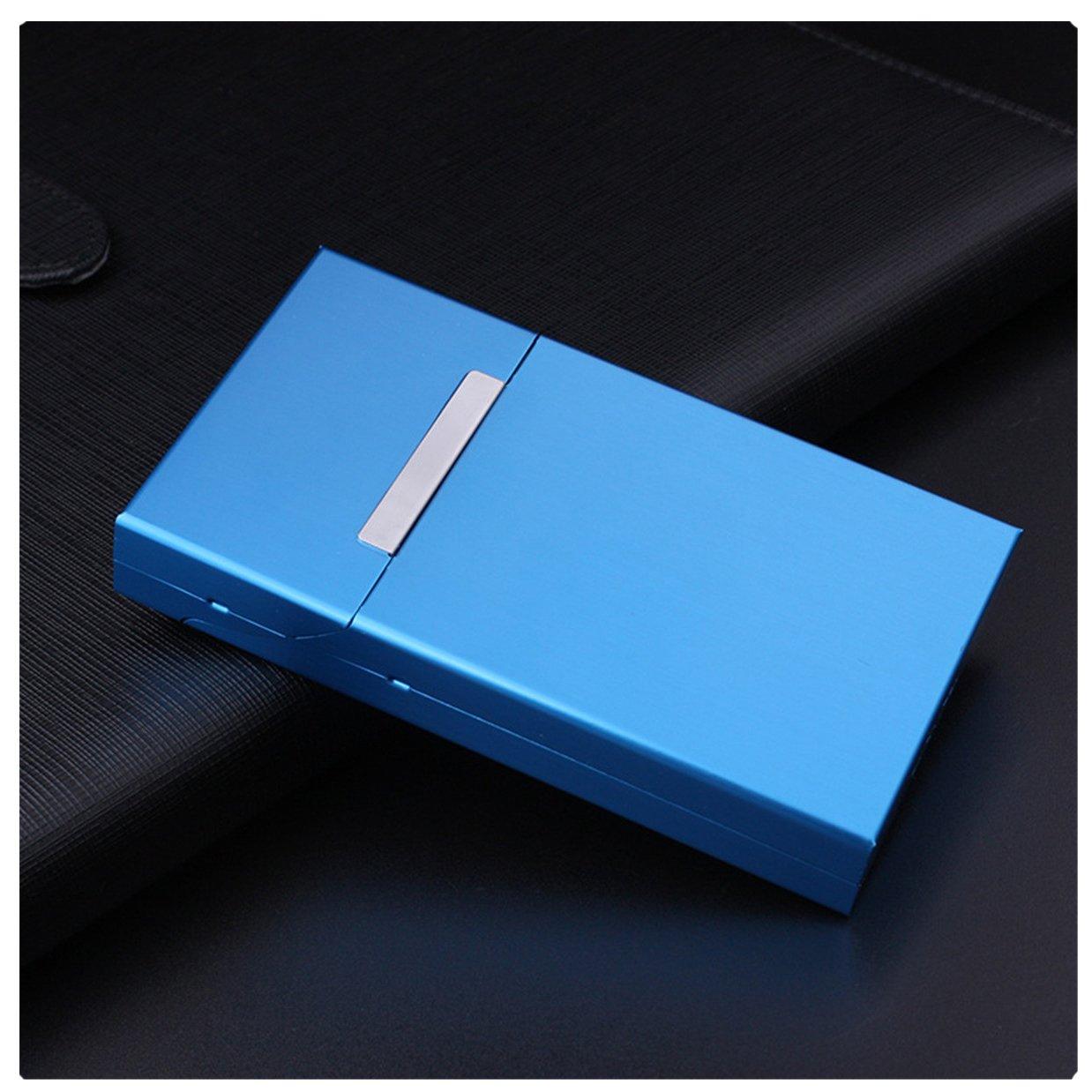 Women Fashion Ultra Thin Aluminum Cigarette Case100mm Cigarette Box Mini Cigarette Holder,Blue