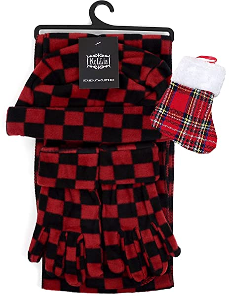 095664ca6cc Image Unavailable. Image not available for. Color  Red   Black Checkered  Womens Fleece Winter Outerwear Accessory Set - Scarf