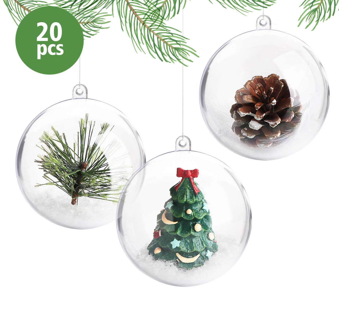Gluckliy 5pcs Heart Shape Plastic Transparent Fillable Ball Christmas Bauble Ornaments Candy Box Christmas Tree Decoration Wedding Party Home Decor DIY Gift 80mm