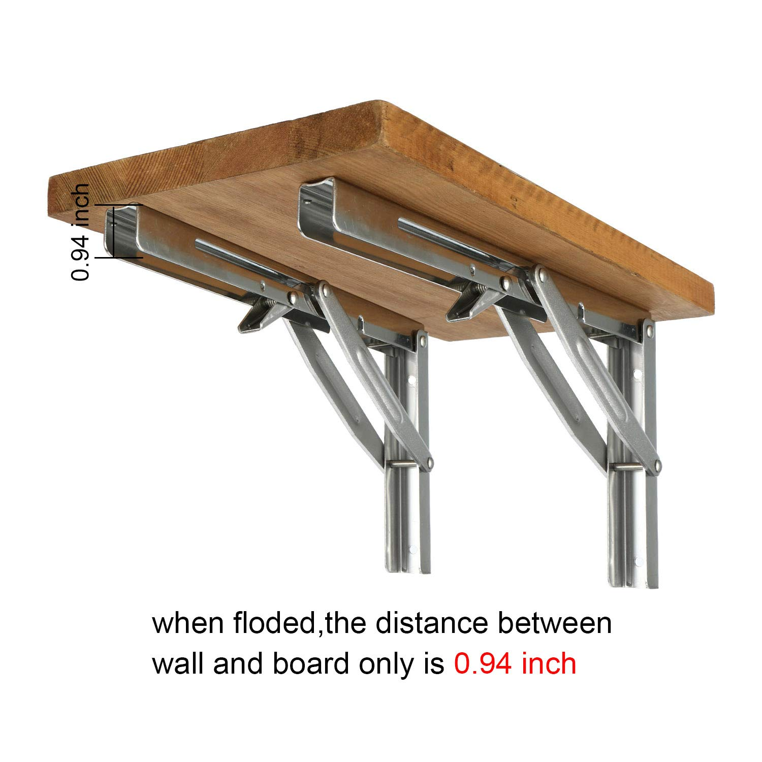 Mounting Screws and Board not Included Short Release Arm 300KG//660LBS Max Load DasMarine 2pcs Polished 304 SS Wall Mounted Folding Shelf Bracket Support for Table Bench Desk Support Bracket