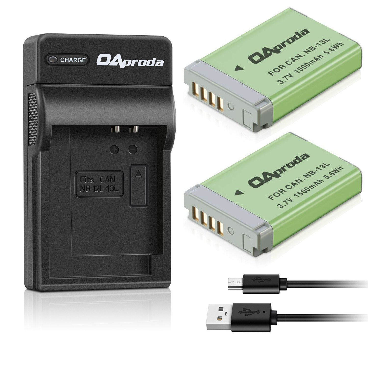 Fully Decoded OAproda NB-13L Battery (2 Pack) and Ultra Slim Micro USB Battery Charger for Canon PowerShot G1 X Mark III, G5 X, G7 X, G7 X Mark II, G9 X, G9X Mark II, SX720 HS,SX730 HS Digital Camera