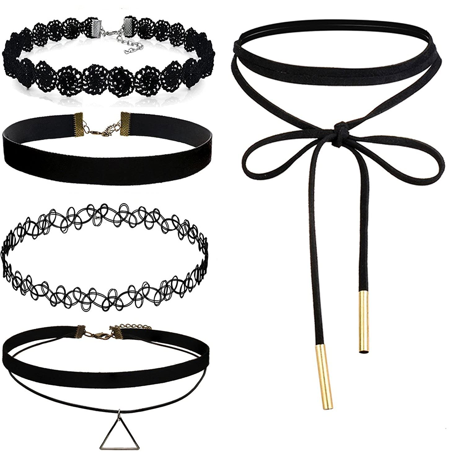 Flongo Womens Ladies 5PCS Rock Black Velvet Leather Lace Choker Necklace Tattoo Collar Neckband, 14 inch Chain F042064