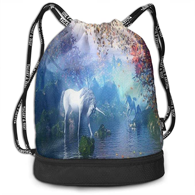 a7ebd71575 Amazon.com  All agree Drawstring Bag Unicorn in Wonderland Womens Gym  Backpack Unique Mens Travel Canvas Bags for Senior  Sports   Outdoors