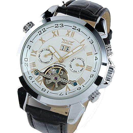 ufengke® movimiento reloj de pulsera antiguos números romanos elegantes mecánico automático calendario de la correa de muñeca para los hombres,blanco: ...