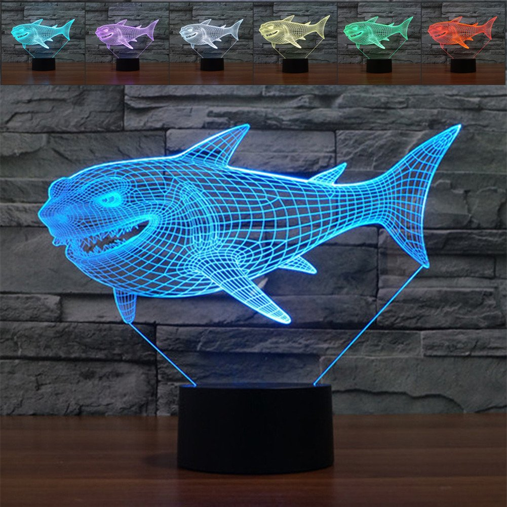3D Illusion Lamp Shark Led Night Light, 7 Colours Flashing Touch Switch Bedroom Decoration Lighting for Kids Christmas Gift 1