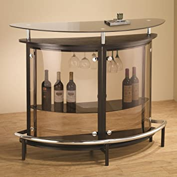 Home Bar Drinks Center Tempered Glass Top Curved Cabinet
